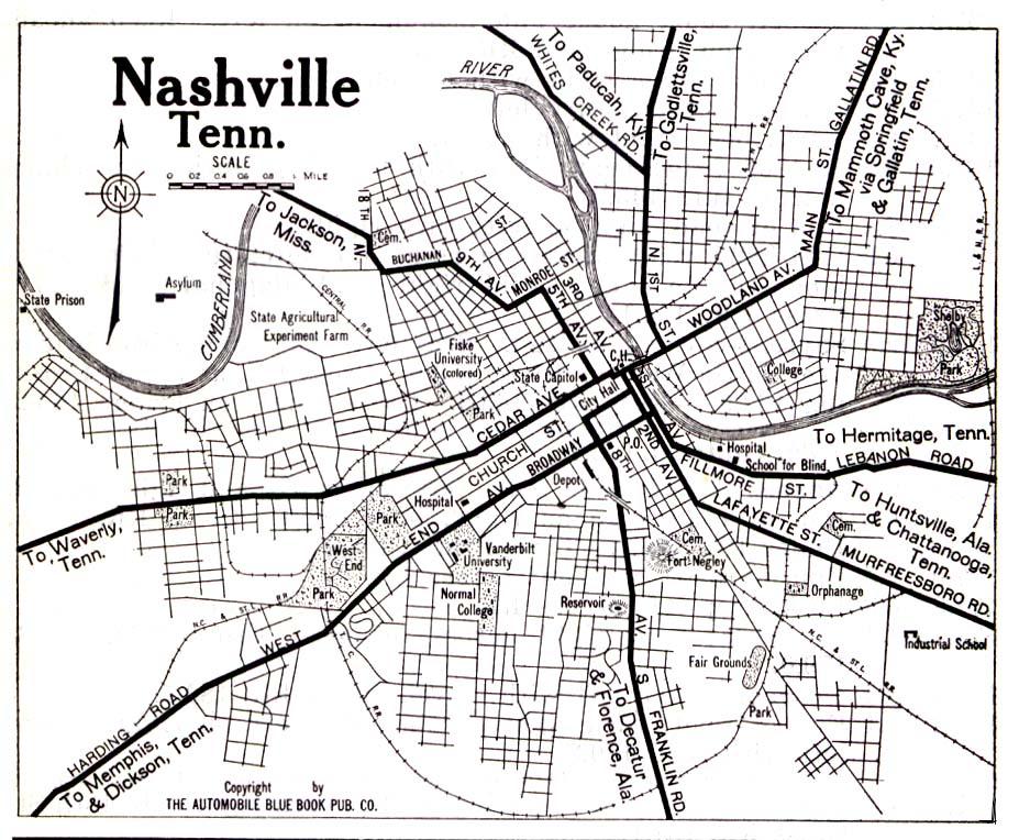 Nashville Street Map 1919 Historic Nashville