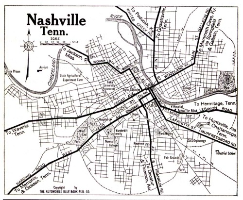 Nashville Street Map 1919 | Historic Nashville