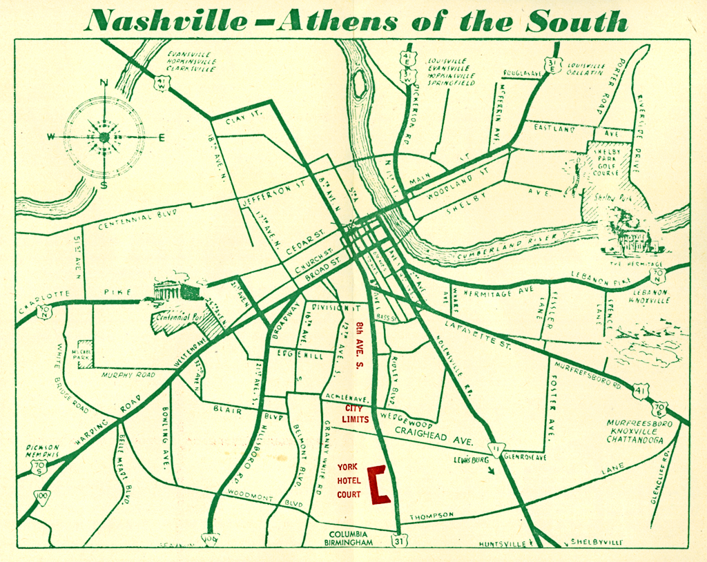 Map of Nashville Athens of the South featuring the York Hotel